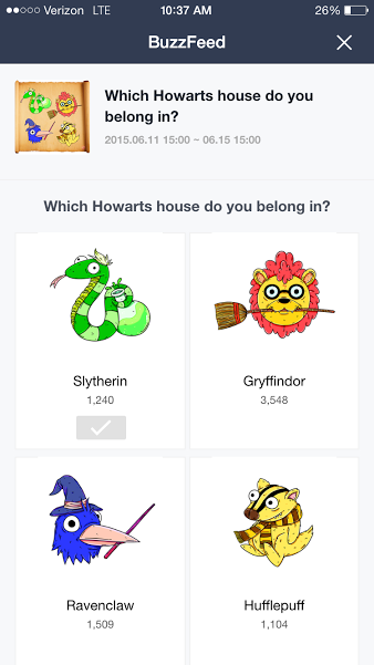 Screenshot showing another feature that asked users to select the house from Harry Potter's Hogwarts which they most fit into