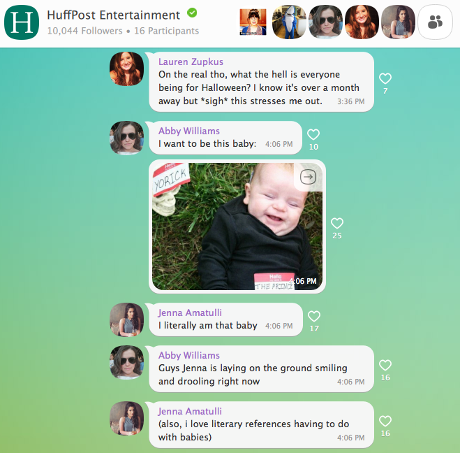 Screenshot showing the Huff Post Entertainment team's private chat's to determine daily stories.
